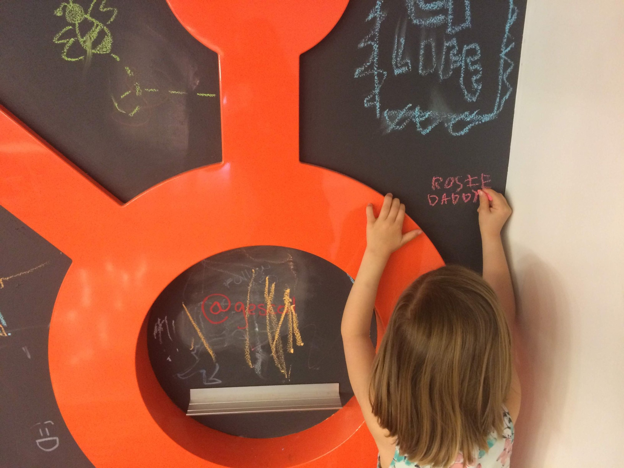 Chalkboard at the HubSpot office with Rosie and Daddy written on it by Rosie Yellis
