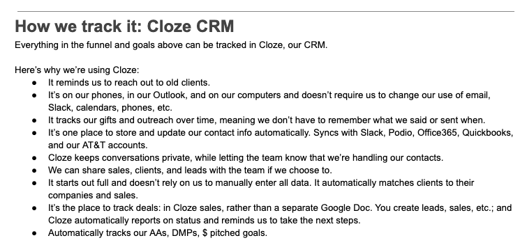 Cloze CRM Implementation Document